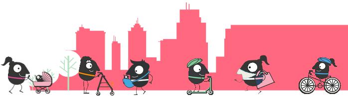 Den bez aut - město, maskoti